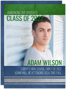 Blue and Green Grunge Foil Graduation Announcement