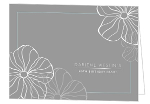 Simple Flowers 60Th Birthday Invitations