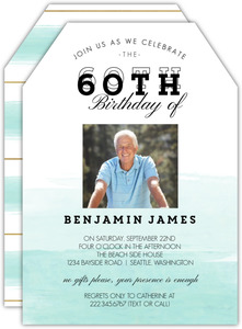Modern Dip Dyed Watercolor 60th Birthday Invitation