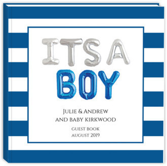 It's A Boy Balloons Baby Shower Guest Book