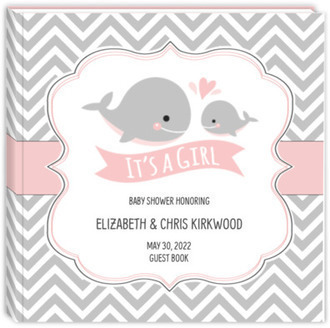 Baby Pink Whale Chevron Baby Shower Guest Book