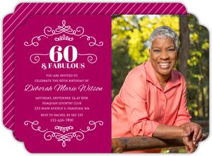Decorative Swirls 60th Birthday Invitation