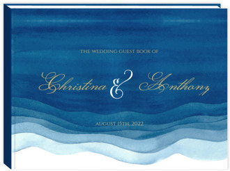 Elegant Blue Watercolor Wash Wedding Guest Book