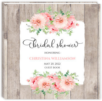 Rustic Pink Peonies Bridal Shower Guest Book