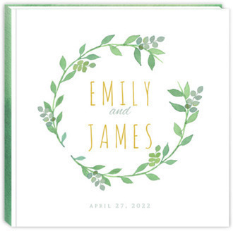 Watercolor Botanical Wreath Wedding Guest Book