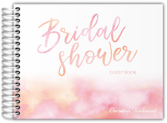 Coral Marble Watercolor Bridal Shower Guest Book