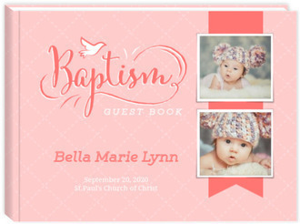 Cute Coral Pink Baby Baptism Guest Book