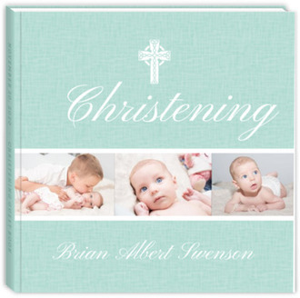 Simple Textured Christening Guest Book
