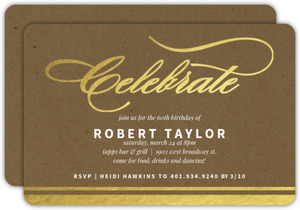 Gold Foil Celebrate Kraft 60th Birthday Invitation