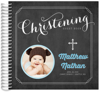 Chalkboard Photo Christening Guest Book