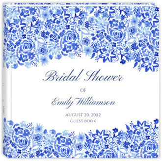 Cascading Handpainted Floral Bridal Shower Guest Book