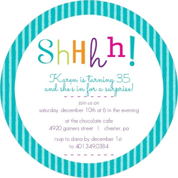 Colorful Shhh Surprise Birthday Invitation