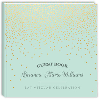 Mint Gold Foil Confetti Bat Mitzvah Guest Book