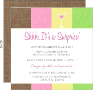 Cosmo Pink Drink 30Th Birthday Invitation - 2944