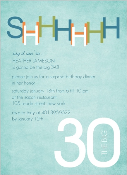 30th birthday email invitations robertottni blue and green surprise 30th birthday invitation filmwisefo Gallery