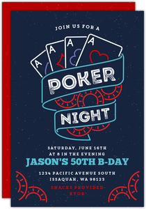 Blue Poker Night 50th Birthday Invitation