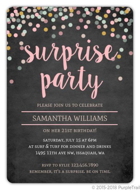 Corolful Confetti Chalkboard Susprise Birthday Invitation Surprise