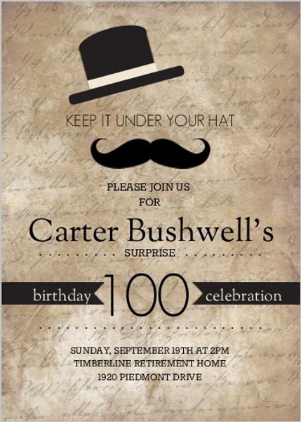 Rustic Black Hats Off Surprise 100Th Birthday Invitation
