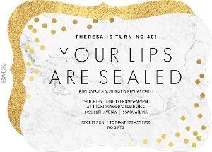 Lips Sealed Surprise 70th Birthday Invitation