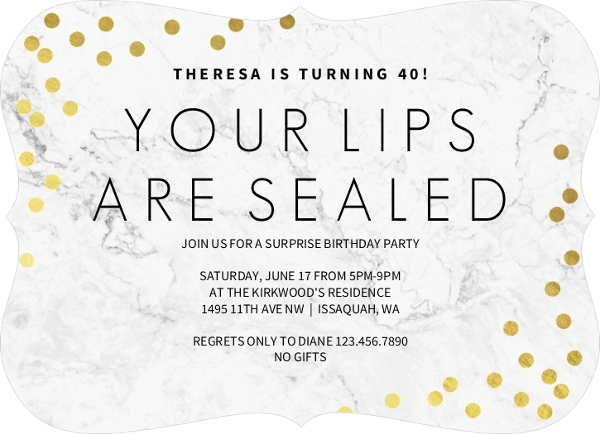 lips sealed surprise 70th birthday invitation surprise birthday