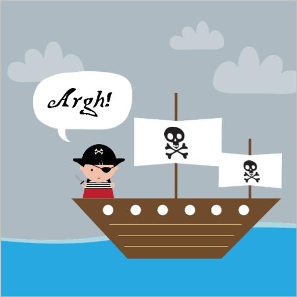 Speech Bubble Pirate Ship Birthday Card