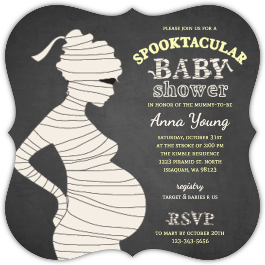 Chalkboard Spooktacular Mummy Baby Shower Invitation Halloween
