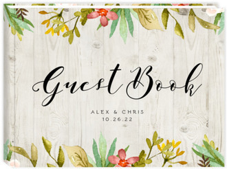 Watercolor Floral Frame Wedding Guest Book