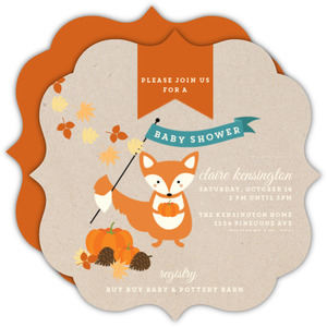 Woodland Fox Pumpkin Baby Shower Invitation