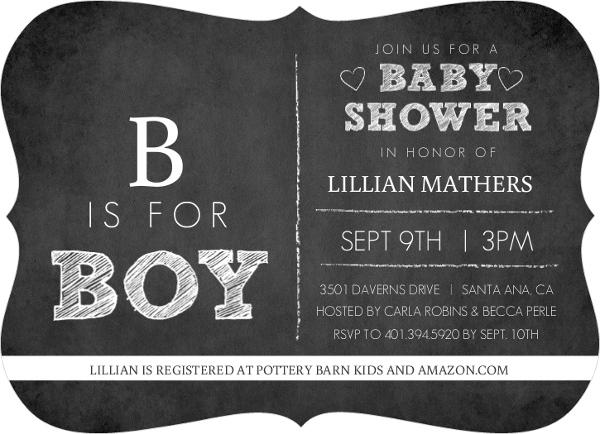Chalkboard B is for Boy Baby Shower Invitation
