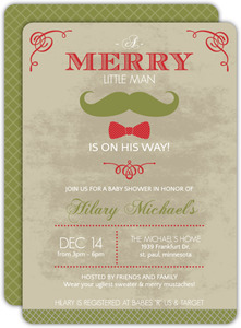 Vintage Gentleman Mustache and Bowtie Baby Shower Invitation