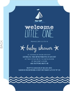 Navy Blue Sailboat Baby Shower Invitation