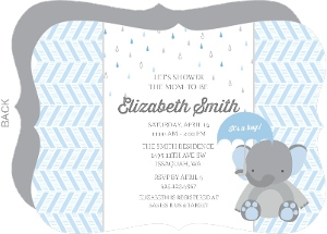 Little Elephant And Chevron Baby Shower Invitation