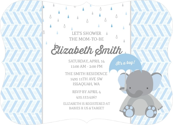 Boy baby shower invitations boy baby shower invitations little elephant and chevron baby shower invitation filmwisefo