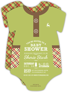 Green Plaid Pattern Baby Shower Onesie Invitation