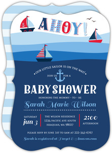 Ahoy Sail Boat Nautical Baby Shower Invitation