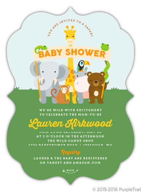 Animal Banner Safari Baby Shower Invitation Safari Baby Shower