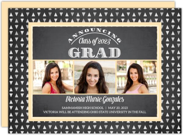 Chalkboard Geometric Pattern Graduation Invitation