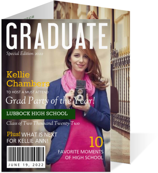 Front Cover Magazine Graduation Invitation