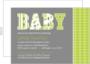 Modern Gray And Green Patterns Baby Shower Invite