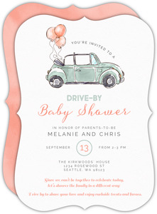 Watercolor Balloon Car Drive-By Baby Shower Invitation