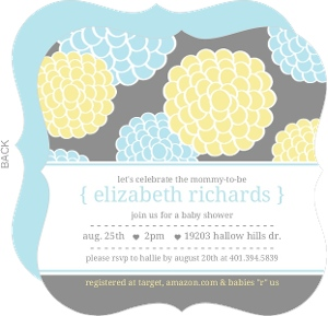 Blue And Yellow Whimsical Flowers Boy Baby Shower Invitations