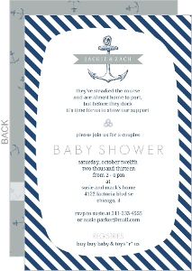 Navy And White Anchor Nautical Baby Shower Invite