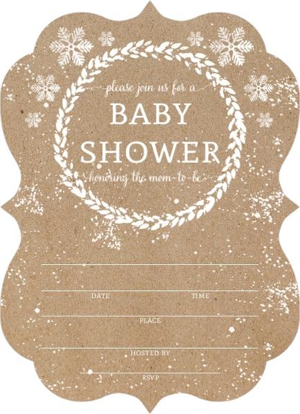 kraft snowfall fill in the blank babyshower invitation. Black Bedroom Furniture Sets. Home Design Ideas