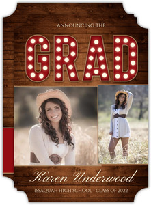 Rustic Red Marquee Graduation Photo Announcement
