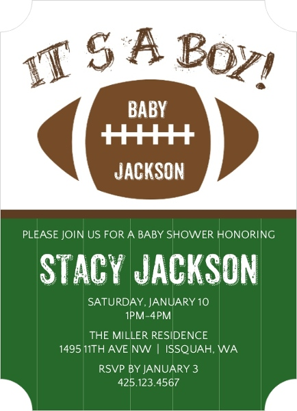 it s a boy football baby shower invitation boy baby shower invitations