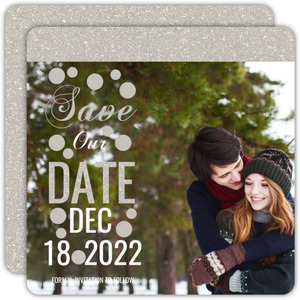 Glitter Wonderland Wedding Save The Date Announcement