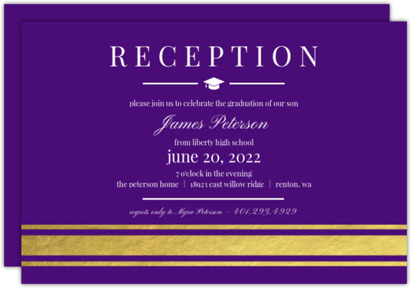Gold Foil Elegant Stripes Graduation Enclosure Card