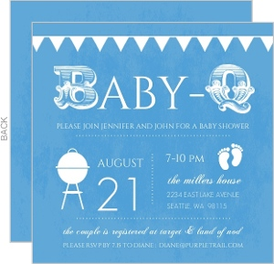 Babyq Blue And White Baby Shower Invitation