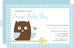 Blue Owl Baby Shower Invite