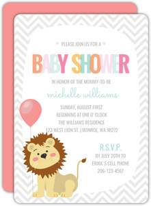 Lion And Chevron Jungle Safari Baby Shower Invitation